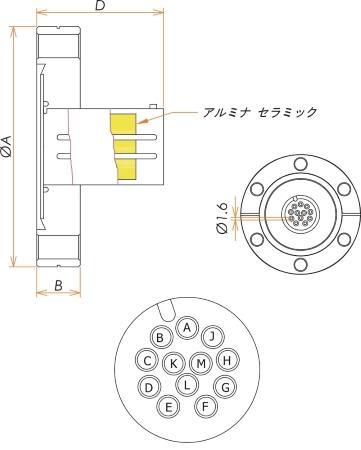 多ピン BURNDY 高電流 12 PIN ICF70 フランジ ガイド付き セット(耐熱温度250℃) 寸法画像