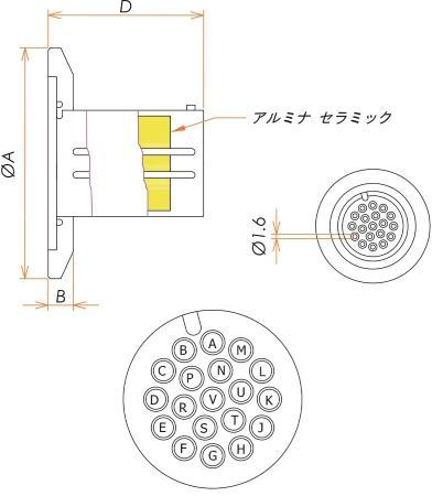 多ピン BURNDY 高電流 19 PIN NW/KF25 フランジ ガイド付き セット(耐熱温度250℃) 寸法画像