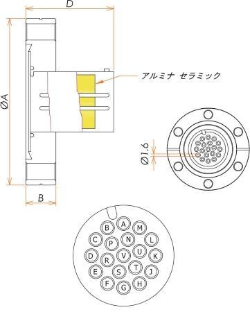 多ピン BURNDY 高電流 19 PIN ICF70 フランジ ガイド付き セット(耐熱温度250℃) 寸法画像