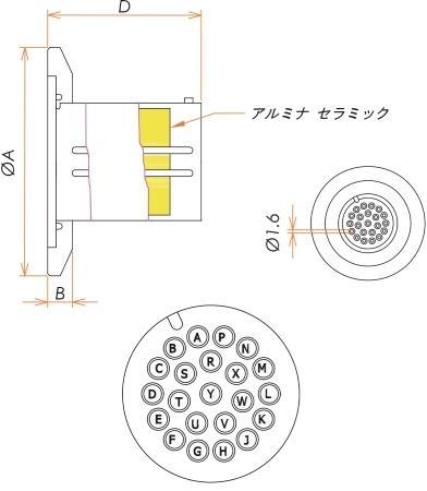 多ピン BURNDY 高電流 22 PIN NW/KF40 フランジ ガイド付き セット(耐熱温度250℃) 寸法画像