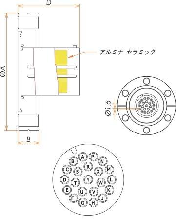 多ピン BURNDY 高電流 22 PIN ICF70 フランジ ガイド付き 寸法画像