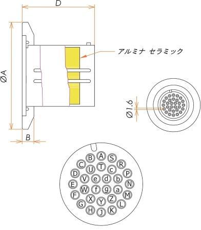 多ピン BURNDY 高電流 30 PIN NW/KF40 フランジ ガイド付き セット(耐熱温度250℃) 寸法画像