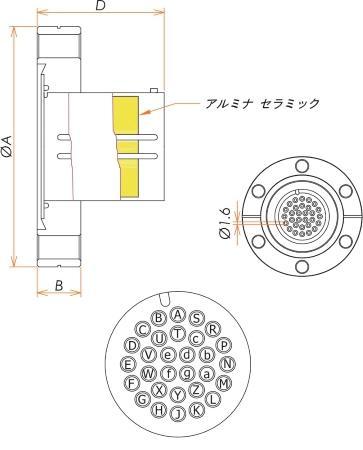 多ピン BURNDY 高電流 30 PIN ICF70 フランジ ガイド付き 寸法画像