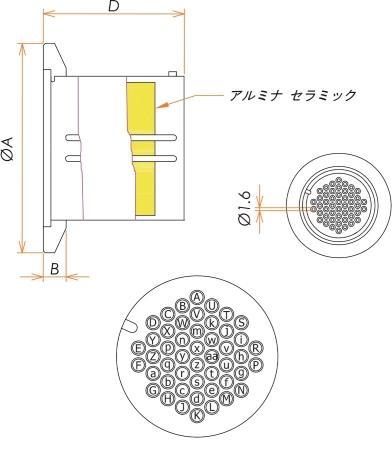 多ピン BURNDY 高電流 48 PIN NW/KF40 フランジ ガイド付き 寸法画像