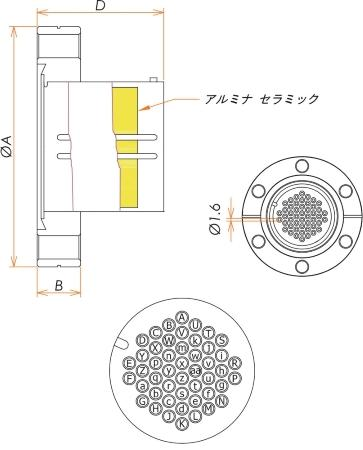 多ピン BURNDY 48 PIN ICF70 フランジ ガイド付き セット(耐熱温度250℃) 寸法画像