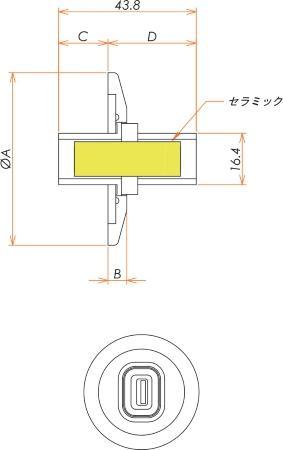多ピン USB2.0コネクタ NW/KF25 フランジ (めすめす) 寸法画像