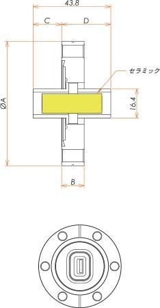 多ピン USB2.0コネクタ ICF70 フランジ (めすめす) 寸法画像