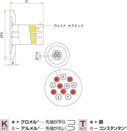 K熱電対 BURNDY 6対 NW/KF25 フランジ ガイド付き 寸法画像