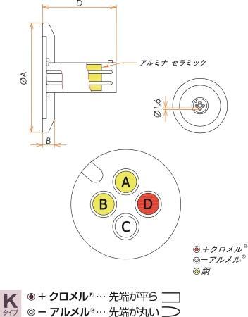K熱電対 BURNDY 1対 電流導入端子2PIN NW16 フランジ ガイド付き 寸法画像