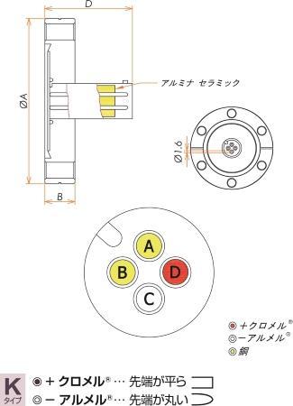 K熱電対 BURNDY 1対 電流導入端子2PIN ICF34 フランジ ガイド付き セット 寸法画像