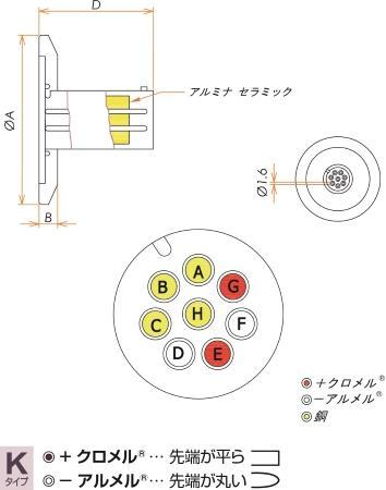 K熱電対 BURNDY 2対 電流導入端子4PIN NW25 フランジ ガイド付き セット 寸法画像