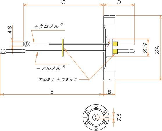 K熱電対 OMEGA™ 1対 ICF70 フランジ 寸法画像