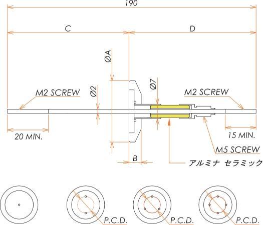 中電流 3kV - 35A 2個付き NW/KF25 フランジ 寸法画像