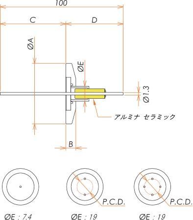 低電流 ステンレス コンパクトタイプ 5kV - 3A 4個付き NW/KF25 フランジ 寸法画像