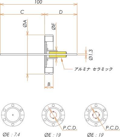低電流 ステンレス コンパクトタイプ 5kV - 3A 4個付き ICF34 フランジ 寸法画像
