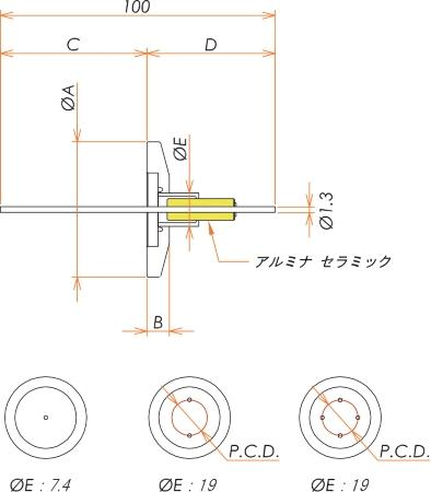 中電流 無酸素銅 コンパクトタイプ 5kV - 22A 4個付き NW/KF16 フランジ 寸法画像