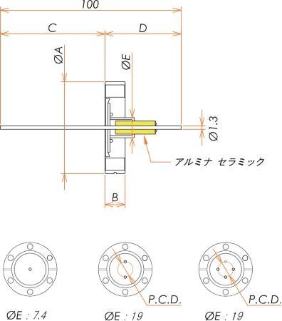 中電流 無酸素銅 コンパクトタイプ 5kV - 22A 4個付き ICF34 フランジ 寸法画像