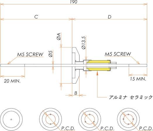 高電流 5kV - 110A Niめっき 2個付き NW/KF25 フランジ 寸法画像
