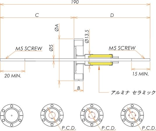 高電流 5kV - 110A Niめっき 1個付き ICF70 フランジ 寸法画像