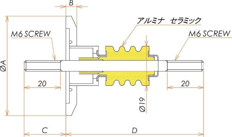 高電流 無酸素銅 電極 5kV - 145A 1個付き NW/KF25 フランジ 寸法画像