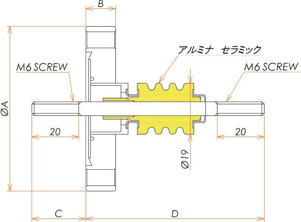 中電流 ステンレス 電極 5kV - 22A 1個付き ICF34 フランジ 寸法画像