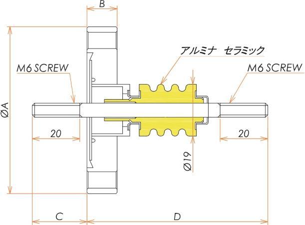 中電流 ステンレス 電極 5kV - 22A 1個付き ICF70 フランジ 寸法画像