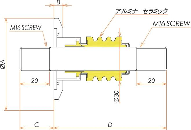 高電流 無酸素銅 電極 5kV - 476A 1個付き NW/KF50 フランジ 寸法画像