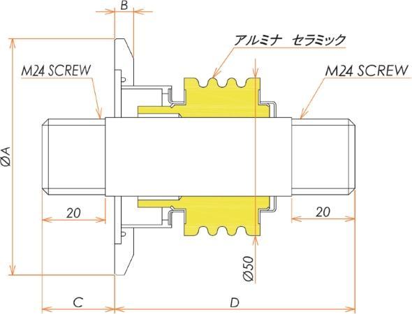 高電流 ステレンス 電極 5kV - 124A 1個付き NW/KF50 フランジ 寸法画像