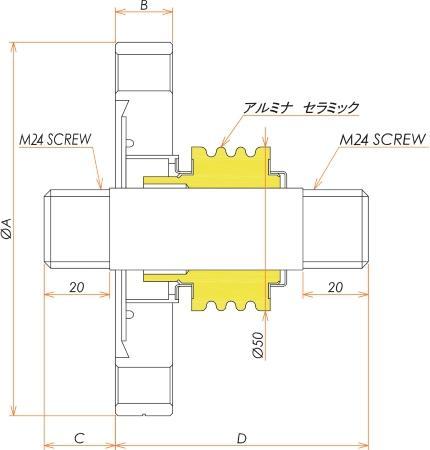 高電流 ステレンス 電極 5kV - 124A 1個付き ICF114 フランジ 寸法画像