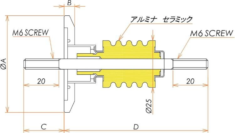 中電流 ステレンス 電極 10kV - 22A 1個付き NW/KF16 フランジ 寸法画像