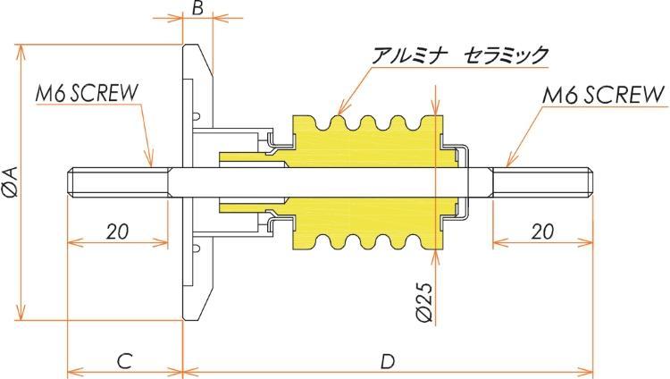 高電流 無酸素銅 電極 10kV - 145A 1個付き NW/KF25 フランジ 寸法画像