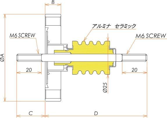 高電流 無酸素銅 電極 10kV - 145A 1個付き ICF70 フランジ 寸法画像