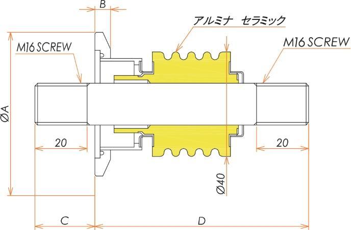 中電流 ステレンス 電極 10kV - 73A 1個付き NW/KF40 フランジ 寸法画像