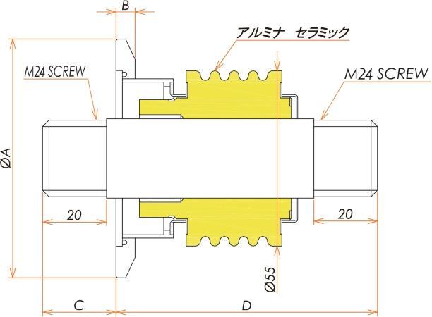 高電流 ステンレス 電極 10kV - 124A 1個付き NW/KF50 フランジ 寸法画像