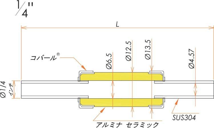 絶縁継手 1/4インチ チューブエンド 10kV 寸法画像