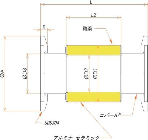 絶縁フランジ NW/KF50 フランジ 12kV 寸法画像