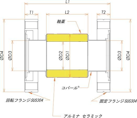 絶縁フランジ ICF34 フランジ 12kV 寸法画像