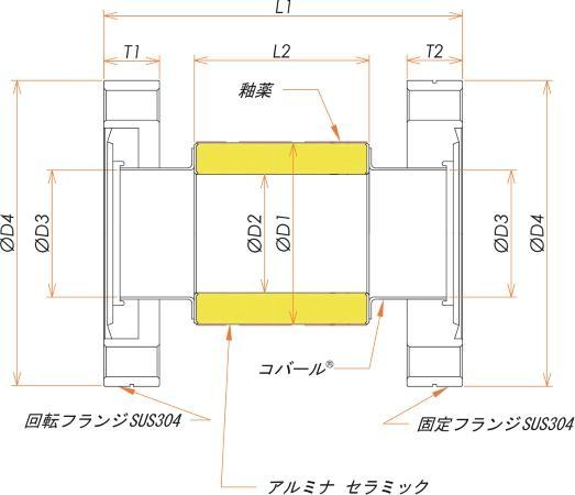 絶縁フランジ ICF203 フランジ 12kV 寸法画像