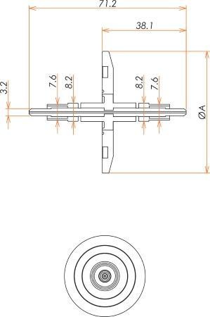 光ファイバー UV / VIS 100μ マルチモード2個付き NW40 フランジ 寸法画像