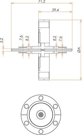 光ファイバー UV / VIS 100μ マルチモード2個付き ICF70 フランジ 寸法画像
