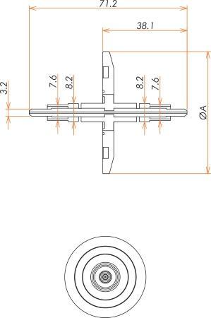 光ファイバー VIS / NIR 600μ マルチモード2個付き NW40 フランジ 寸法画像