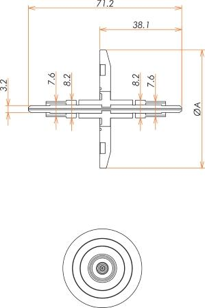 光ファイバー グレードインデックス  マルチモード2個付き NW40 フランジ 寸法画像