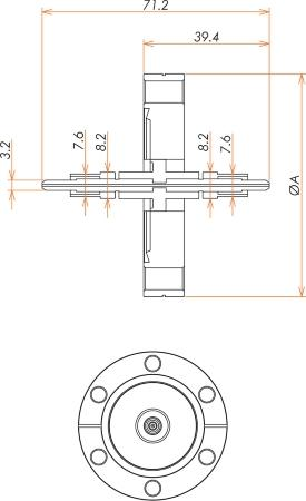 光ファイバー グレードインデックス  マルチモード2個付き ICF70 フランジ 寸法画像