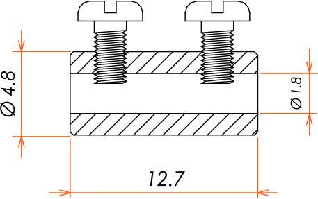 接続部品 真空側 ソケットコンタクト φ1.8 用 バレルタイプ 10本入 寸法画像