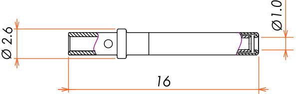 接続部品 真空側 ピンコンタクト φ1.0 用 圧着タイプ 10本入 寸法画像