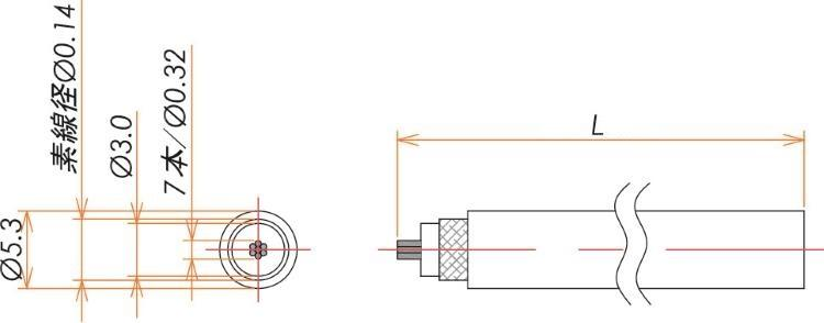 接続部品 大気側ケーブル BNC 用 3D-2V L=1000 寸法画像