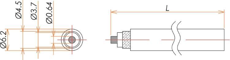 接続部品 大気側ケーブル MHV 用 RG59A L=1000 寸法画像