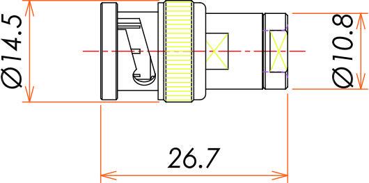 接続部品 大気側プラグ BNC 用 寸法画像