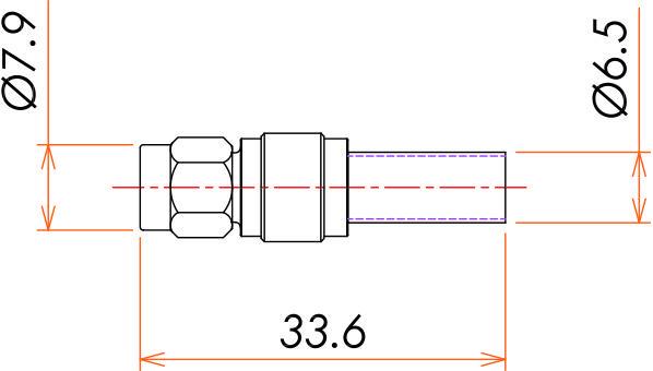 接続部品 大気側プラグ SMA 用 寸法画像