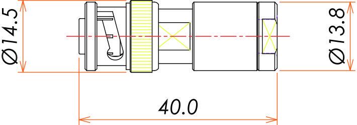 接続部品 大気側プラグ BNC-5kV 用 寸法画像